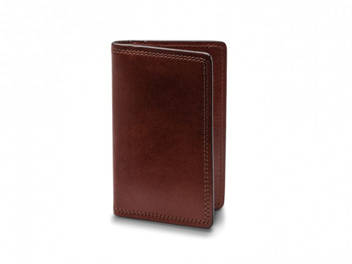 BOSCA 1911 CALLING CARD CASE WALLET IN DARK BROWN DOLCE LEATHER