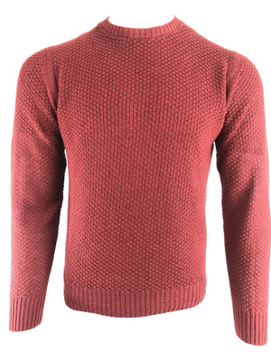 LUCIANO BARBERA TEXTURED SOLID CREWNECK MEN'S SWEATER - BRICK RED