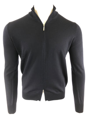 BUTTON DOWN FULL ZIP MERINO WOOL MEN'S SWEATER - MIDNIGHT BLUE