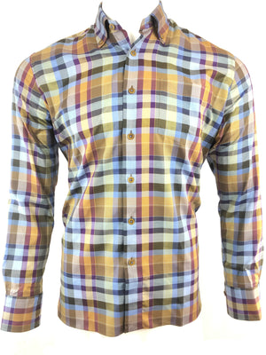 CALDER CARMEL OLIVE TWILL PLAID MEN'S SHIRT
