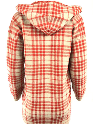 CIVIDINI WOOL PLAID KNITTED COAT - RED/TAN