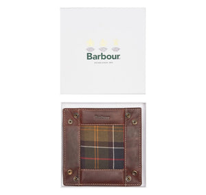 BARBOUR TARTAN & LEATHER VALET TRAY IN GIFT BOX (4579948724301)