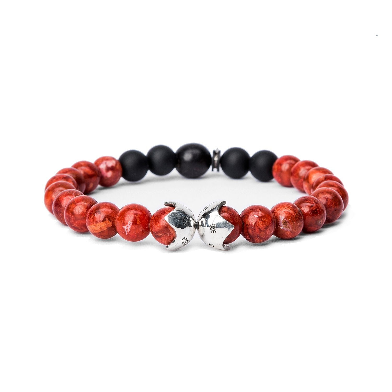 KENTON MICHAEL RED CORAL BEAD AND STERLING SHIELD BRACELET