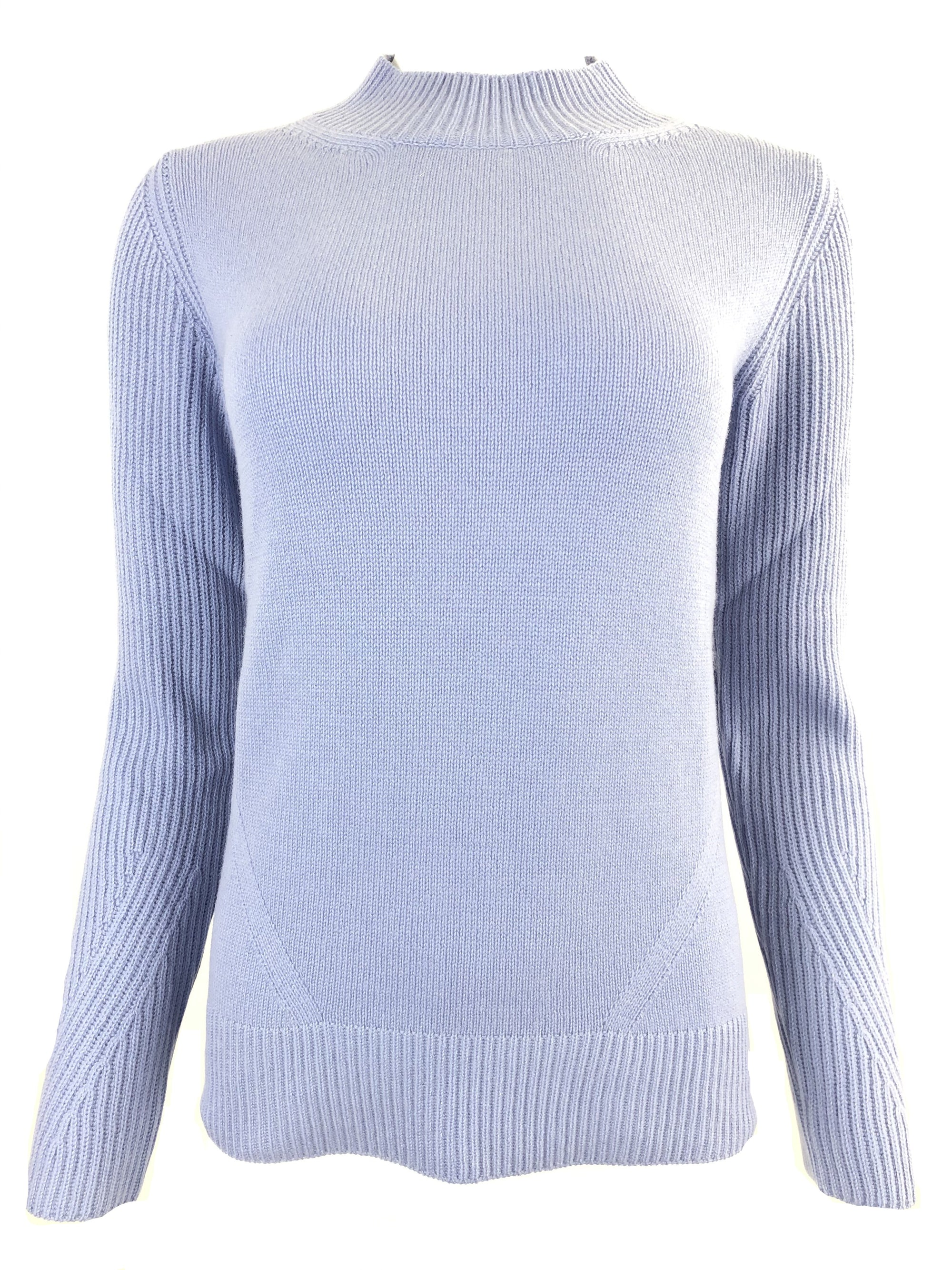 BRUNO MANETTI MOCK NECK CASHMERE WOMEN'S TUNIC - LIGHT BLUE
