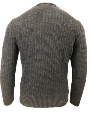 INIS MEAIN MOSS STITCH CREWNECK IN DARK NAVY