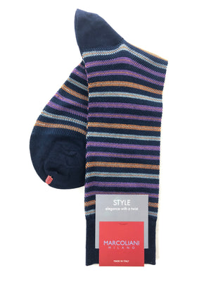 MARCOLIANI PIQUE STRIPE CALF SOCK - 3 COLOR OPTIONS