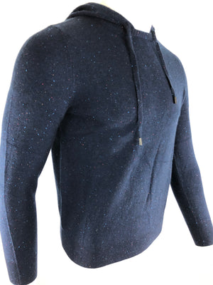 BUTTON DOWN MEN'S CASHMERE HOODED SWEATER - NAVY