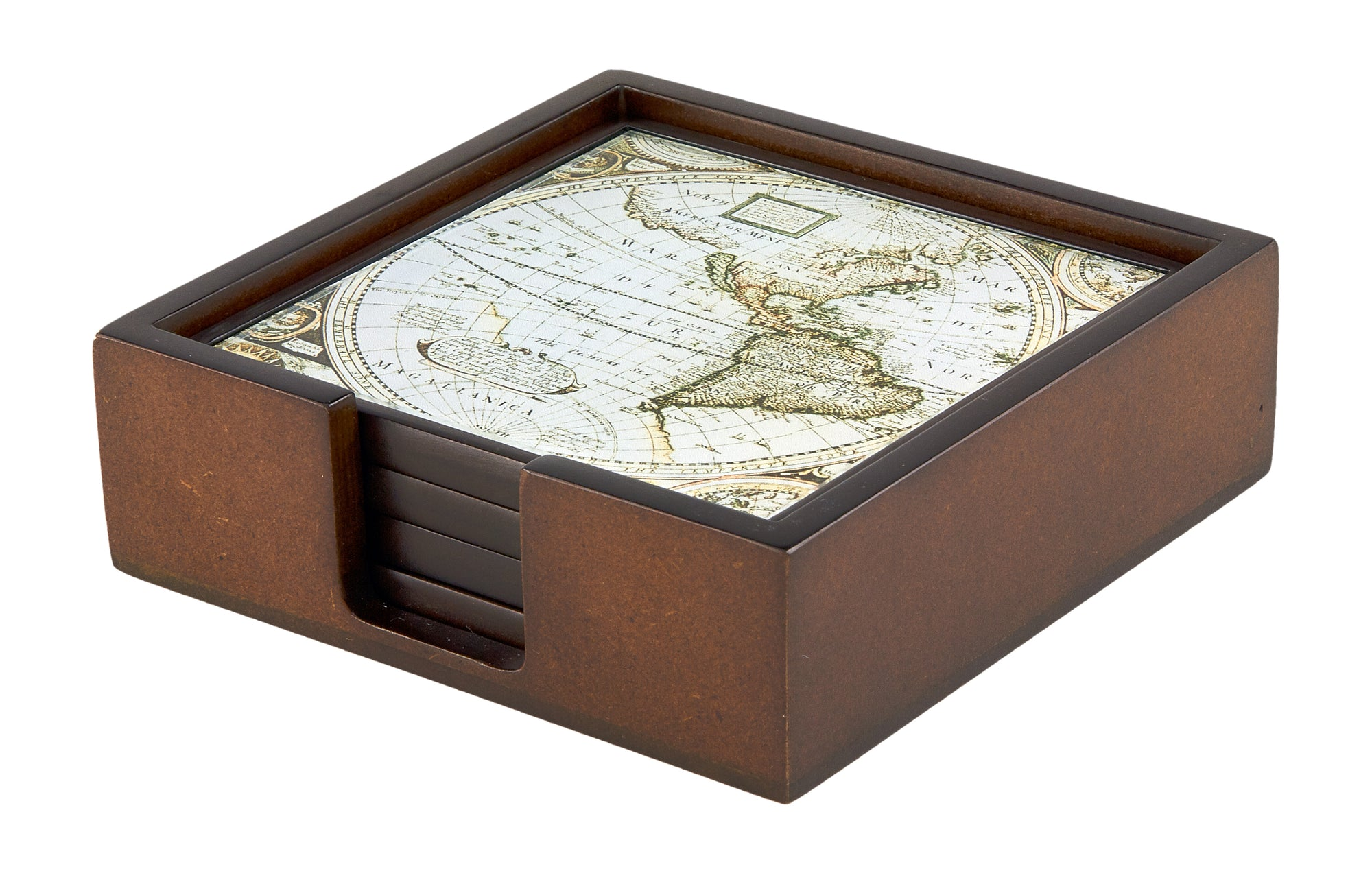 TIZO ANTIQUE MAP COASTER SET