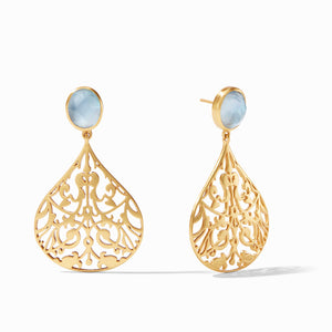 JULIE VOS CHANTILLY EARRING - IRIDESCENT CHALCEDONY BLUE
