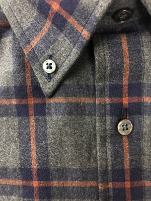 BUTTON DOWN GREY/NAVY/RUST PLAID SPORT SHIRT