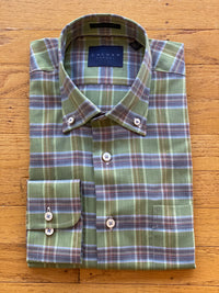 TWILL PERIDOT GREEN TIGHT PLAID MEN'S SPORT SHIRT