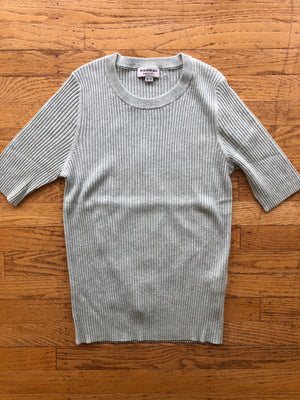 FINE RIB KNIT SHORT SLEEVE SWEATER - 3 COLOR OPTIONS