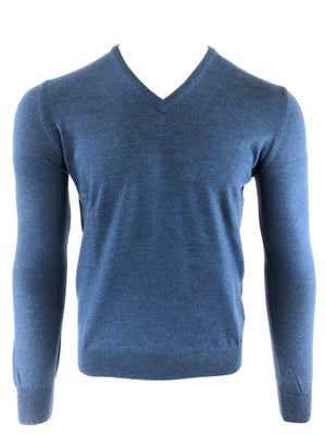 BUTTON DOWN V-NECK MERINO WOOL MEN'S CREW SWEATER - STEEL BLUE