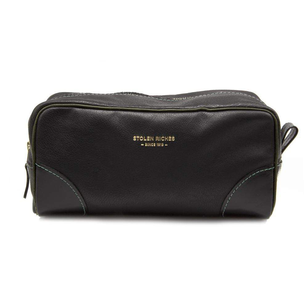 BLACK LEATHER DOPP BAG