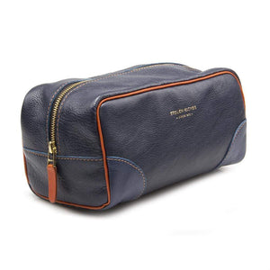 BLUE LEATHER DOPP BAG