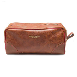 BROWN LEATHER DOPP BAG