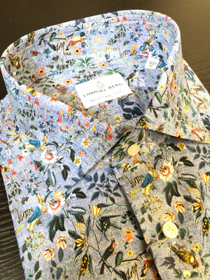 EMANUEL BERG BLUE AVIAN DELIGHT MEN'S SHIRT