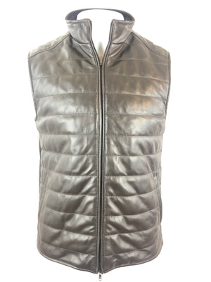 LUCIANO BARBERA MEN'S BROWN QUILTED LEATHER VEST
