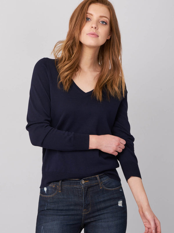 BASIC COTTON BLEND V-NECK SWEATER (4588752535629)