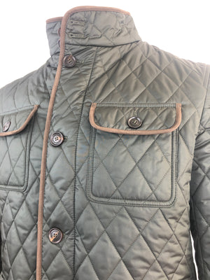 QUILTED FIELD JACKET IN OLIVE GREEN WITH SUEDE TRIM