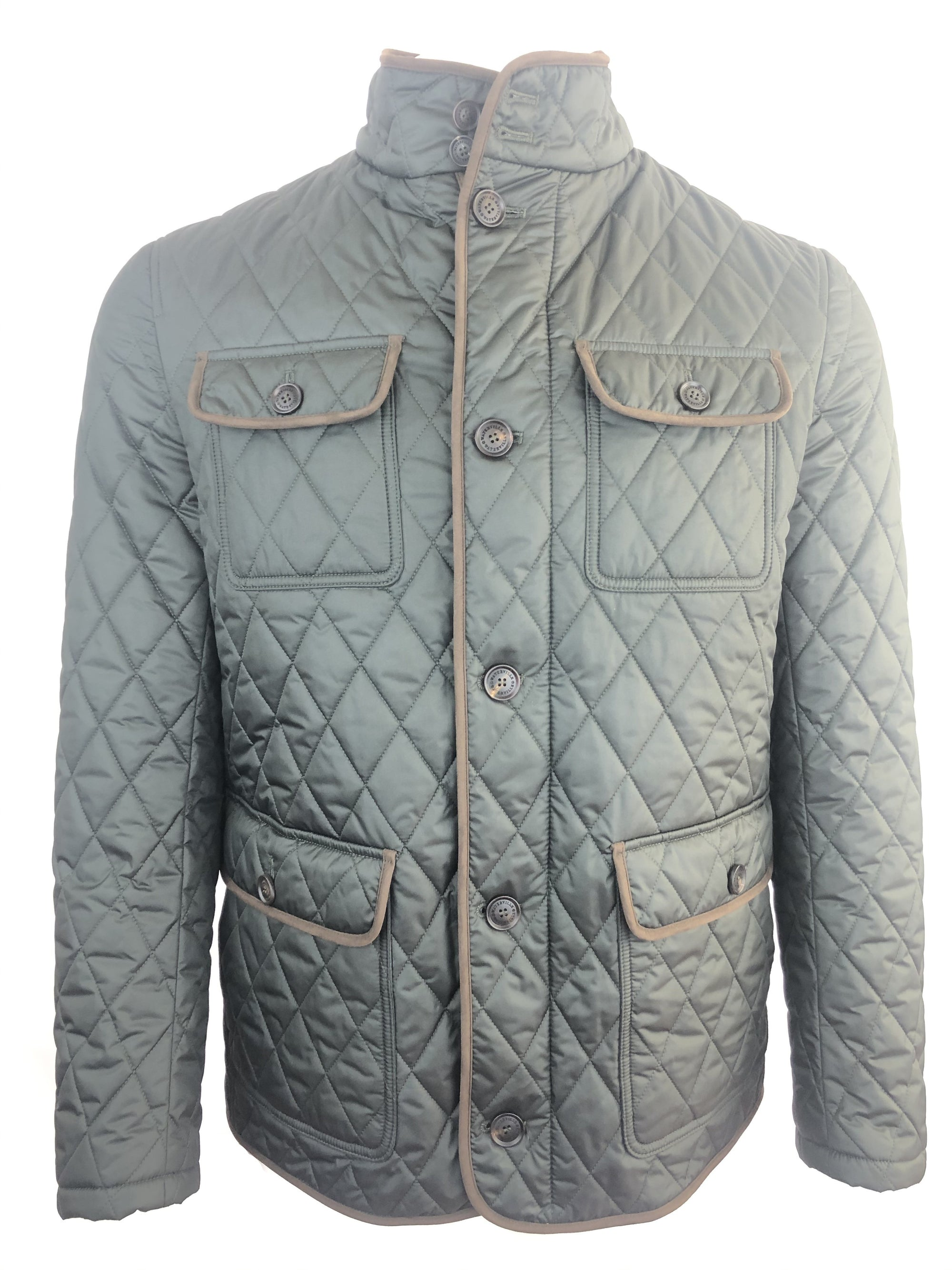 WATERVILLE QUILTED FIELD JACKET IN OLIVE GREEN WITH SUEDE TRIM