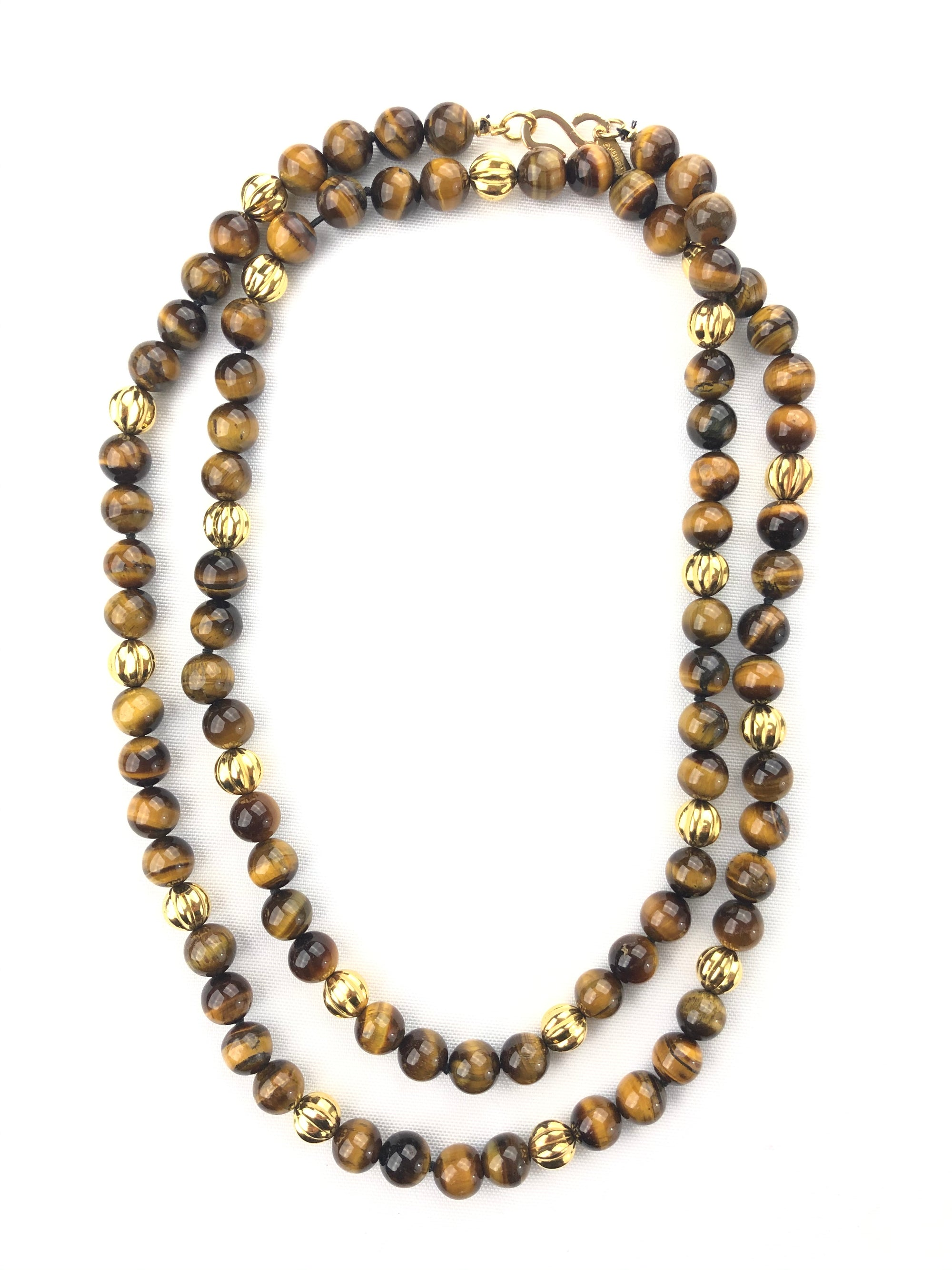 BUTTON DOWN TIGER EYE AND GOLD BEAD NECKLACE