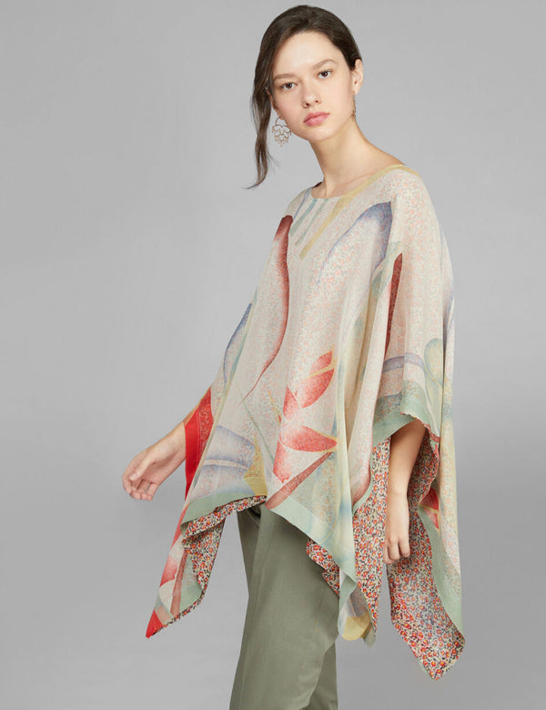 DOUBLE PRINT SILK PONCHO (4590981447757)
