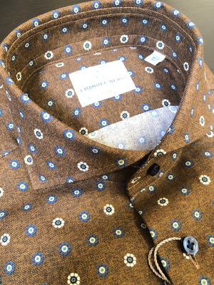 EMANUEL BERG BROWN WITH NAVY AND WHITE MEDALLIONS MEN'S SHIRT