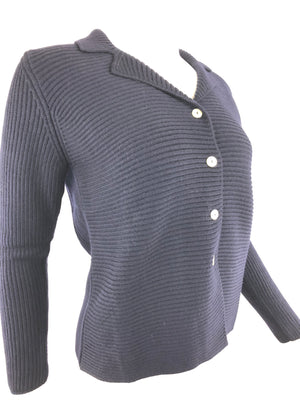 HUBERT GASSER WOMEN'S NAVY WOOL CARDIGAN