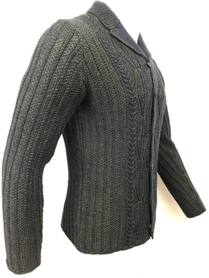 INIS MEAIN ARAN CABLE BUTTON FRONT CARDIGAN IN NAVY/OLIVE