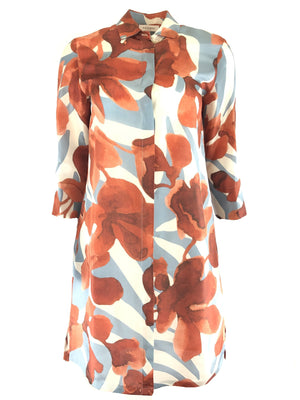 ROSSO 35 FLORAL SILK DRESS
