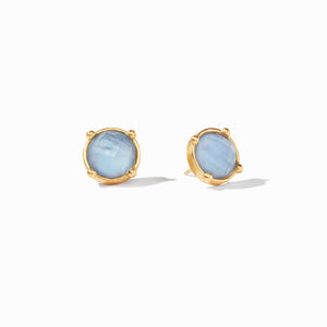 JULIE VOS HONEY STUD EARRING - IRIDESCENT CHALCEDONY BLUE