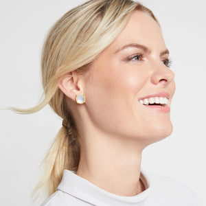JULIE VOS HONEY STUD EARRING - IRIDESCENT CLEAR CRYSTAL