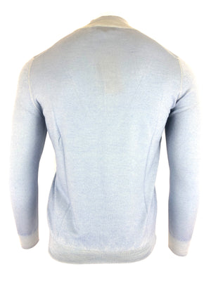 BUTTON DOWN QUARTER ZIP MERINO WOOL MEN'S SWEATER - LIGHT BLUE