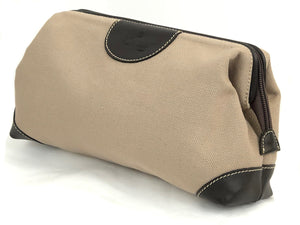 CANVAS DOPP BAG WITH ITALIAN LEATHER TRIM - 3 COLOR OPTIONS