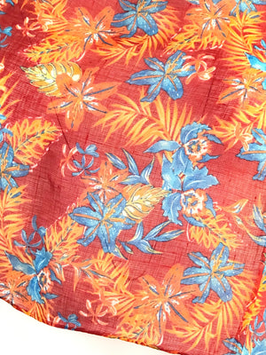 LINEN & SILK RED PALMS SCARF