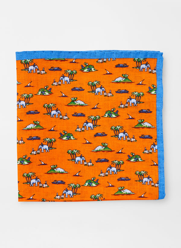 Elephant Safari Linen Pocket Square (4578772222029)
