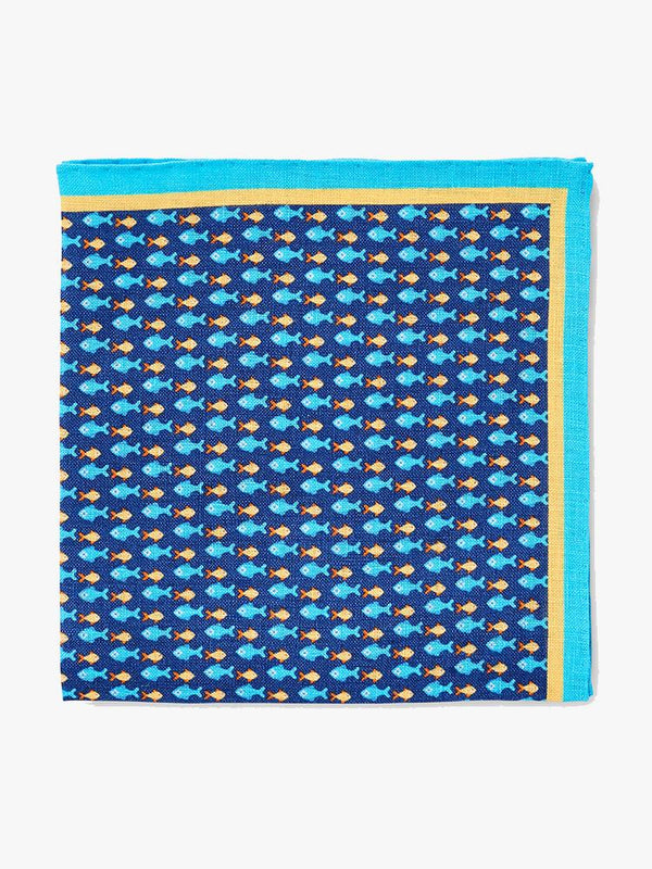 Fish in a Row Linen Pocket Square (4578776481869)