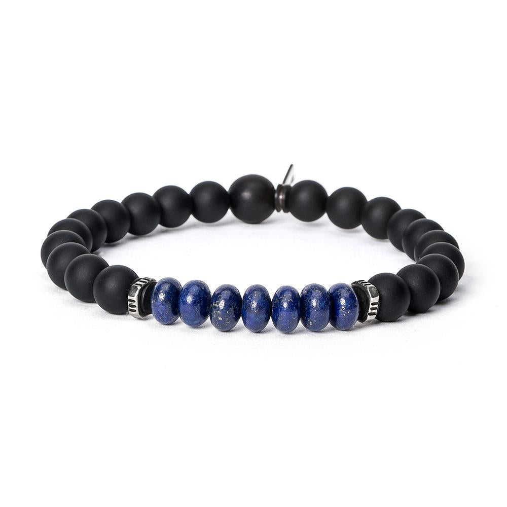 KENTON MICHAEL LARGE ONYX WITH STERLING AND LAPIS BRACELET