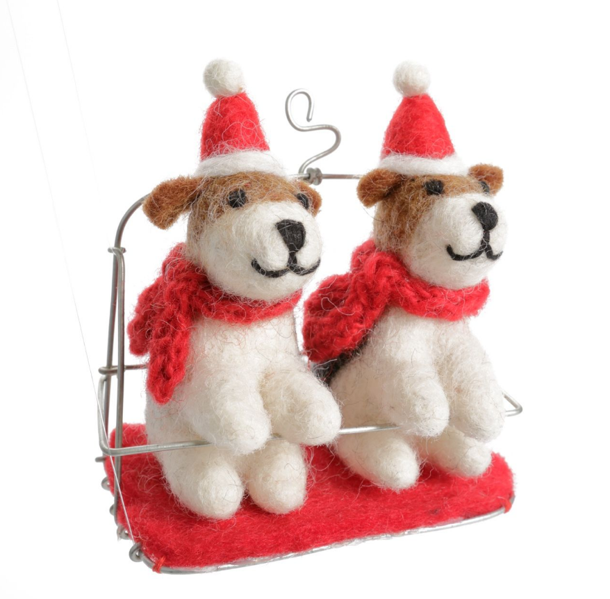 AMICA FELT FOX TERRIERS IN A SKI CHAIR LIFT
