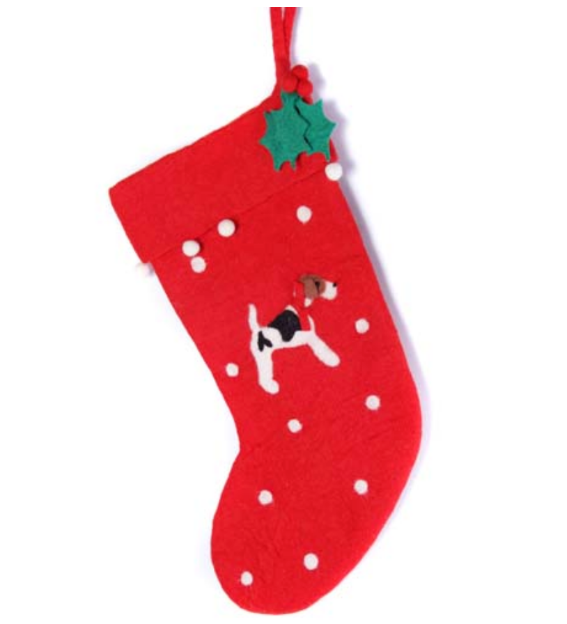 AMICA FELT FOX TERRIER MOTIF STOCKING