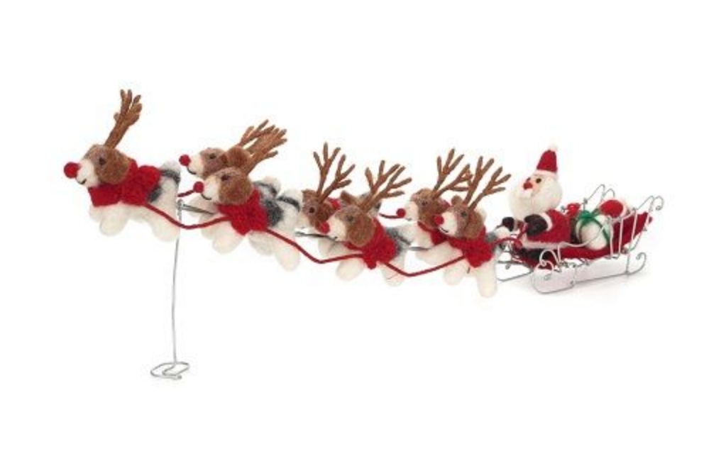 AMICA FELT SANTA & 7 REINDOGS WITH SLEIGH