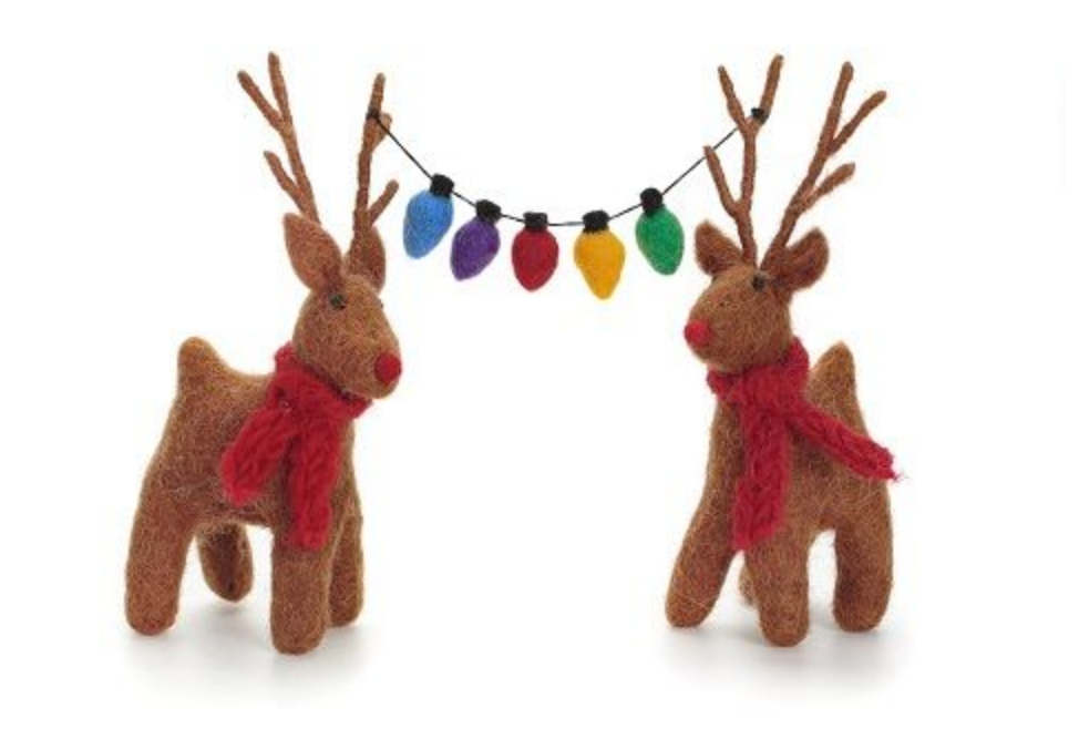 AMICA FELT REINDEER PAIR WITH FAIRY LIGHTS