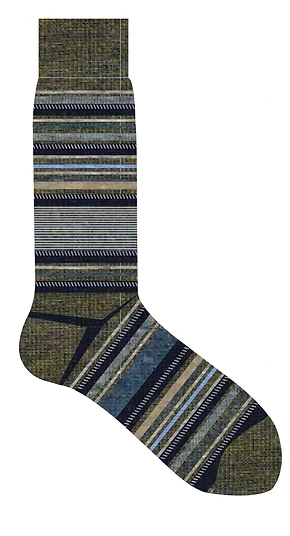 LORENZO UOMO DASH STRIPE WOOL CALF SOCK - OLIVE