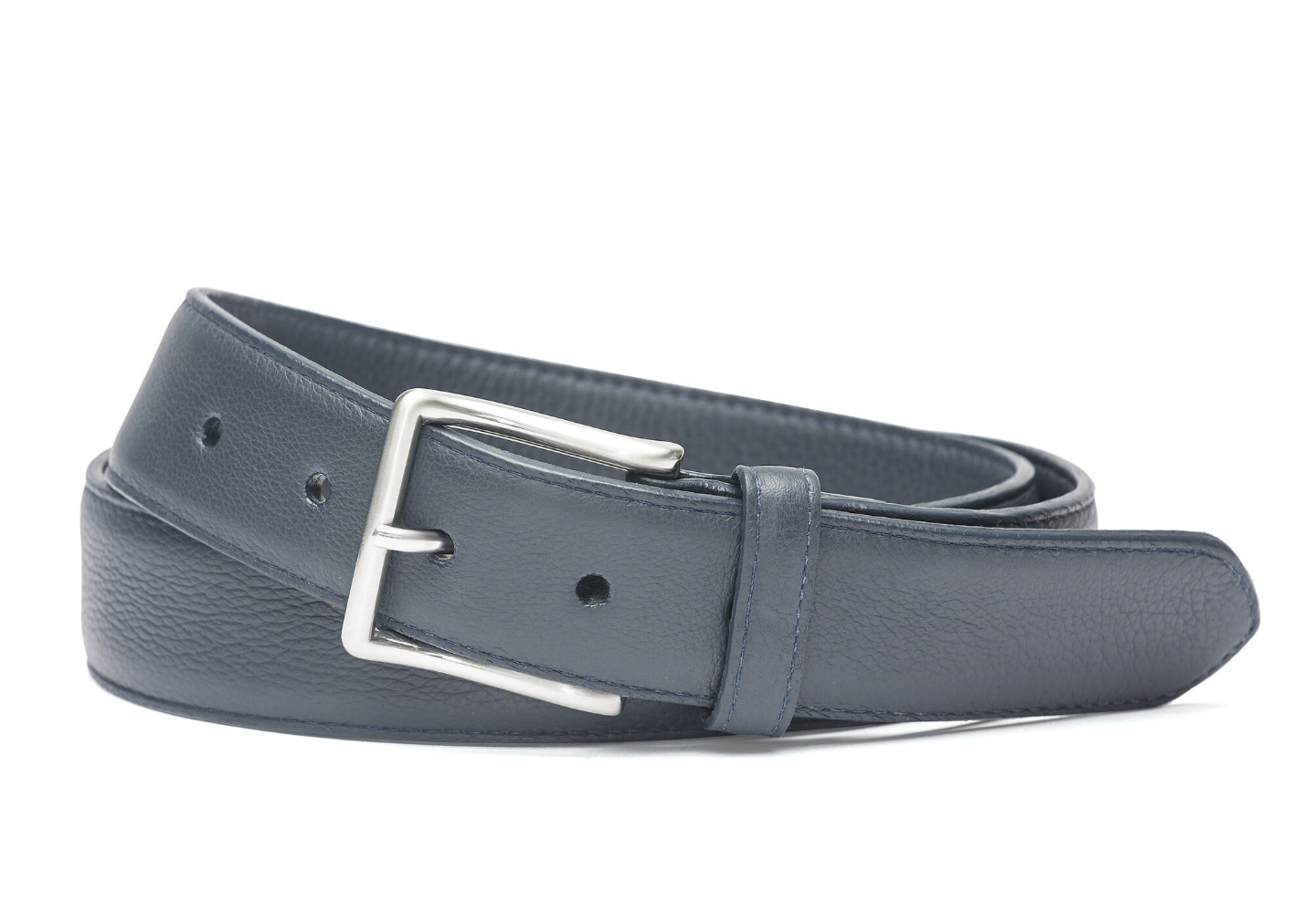 W.KLEINGBERG HIGH PEBBLED BELT - NAVY WITH COGNAC STITCHING