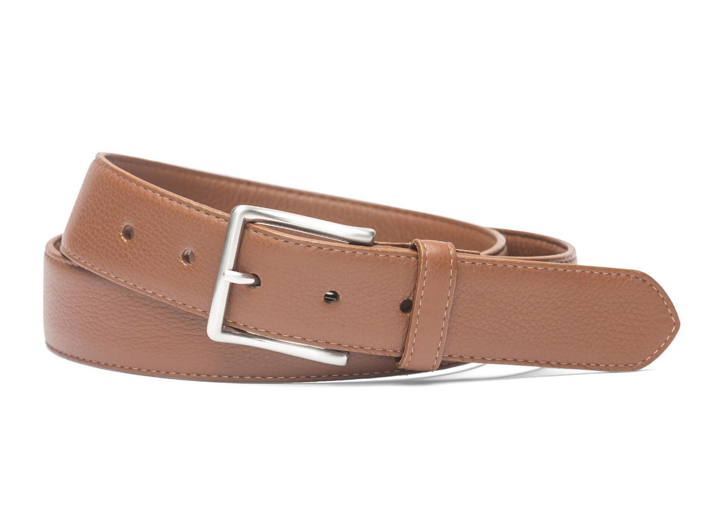 W.KLEINGBERG HIGH PEBBLED BELT - COGNAC WITH NAVY STITCHING
