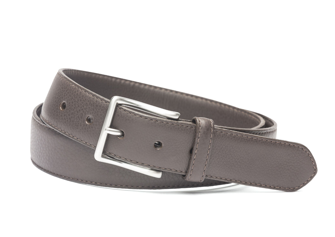 W.KLEINGBERG HIGH PEBBLED BELT - CHOCOLATE WITH ORANGE STITCHING