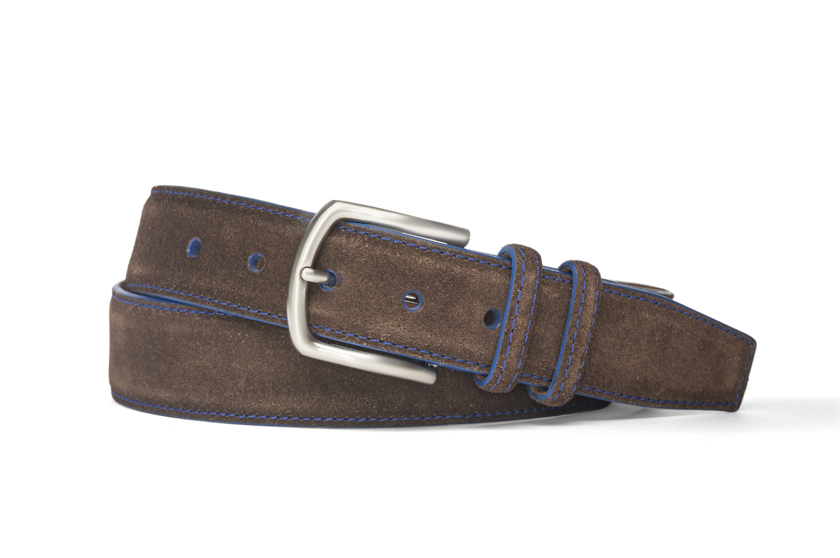 W.KLEINGBERG SUEDE BELT - CHOCOLATE WITH ROYAL BLUE DETAIL