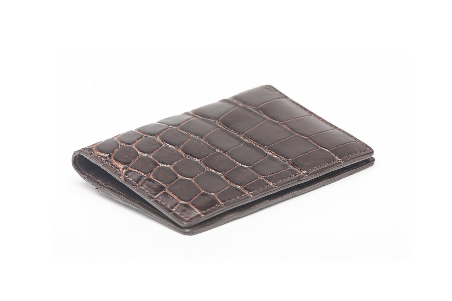 W.KLEINGBERG GLAZED ALLIGATOR CREDIT CARD ID CASE - 4 COLOR OPTIONS