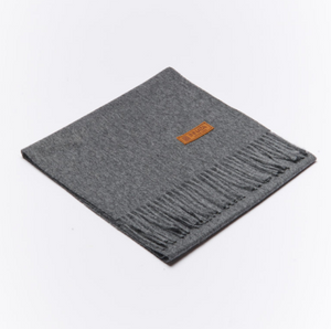 BUTTON DOWN ALPACA SCARF - DARK GREY